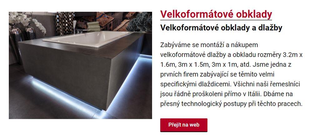 Zabýváme se montáží a nákupem velkoformátové dlažby a obkladu rozměry 3.2m x 1.6m, 3m x 1.5m, 3m x 1m, atd